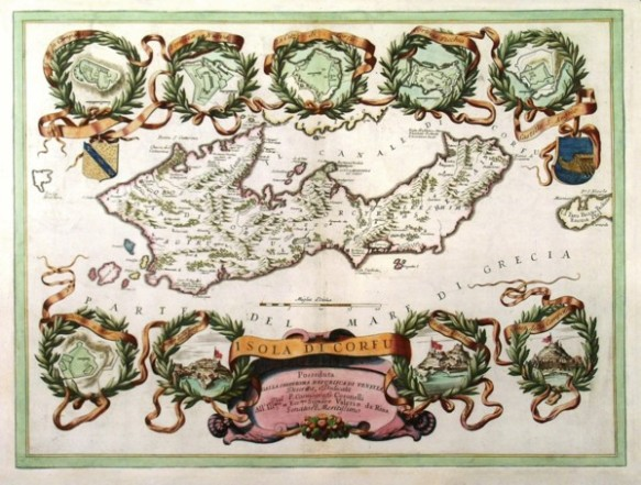"Venetian map of Isola di Corfu : posseduta dalla Serenissima Republica di Venetia (""owned b the Republic of Venice""). . Circa 1690."